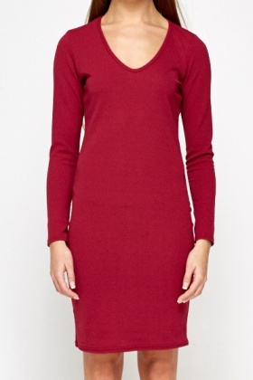 Wine Midi Textured Dress
