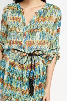 Embellished Printed Beach Cover Up