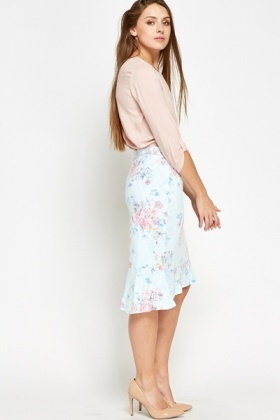 Floral Lace Overlay Skirt