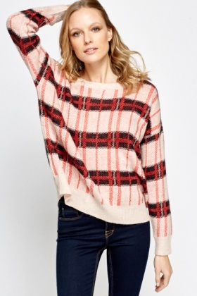 Oversized Checked Jumper