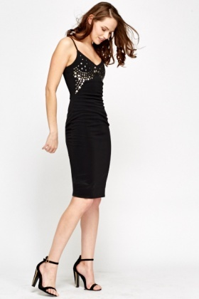Studded Front Bodycon Dress