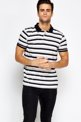 Black Striped Polo T-Shirt