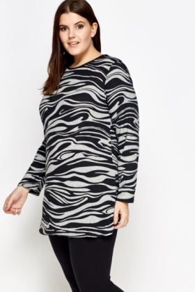 Black Zebra Print Flare Top