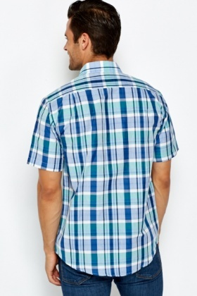 Check Blue Cotton Shirt