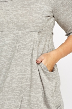 Light Grey Long Wrap Front Tunic