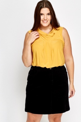 Mustard Sleeveless Cowl Neck Top