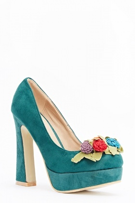 Embellished Flower Block Heels