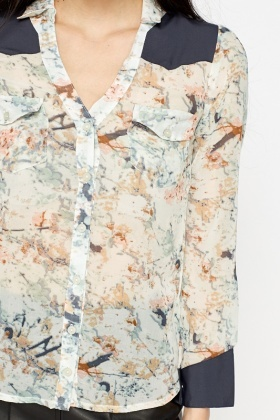 Contrast Splash Print Blouse