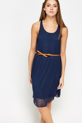 Fish Net Tie Up Dress
