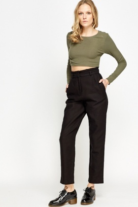 High Waisted Boot Cut Ribbed Trousers