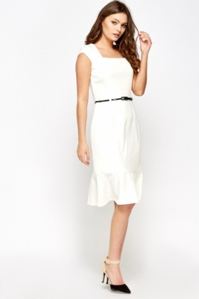 Frilled Hem Midi Formal Dress