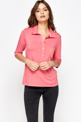 Pink Button Up Polo