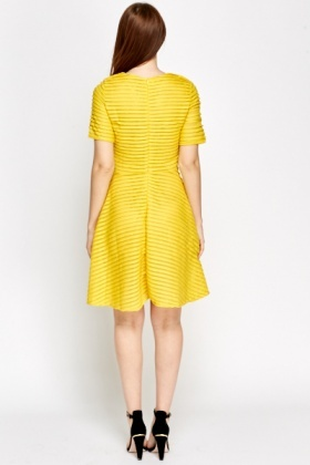 Yellow Pleated Skater Dress