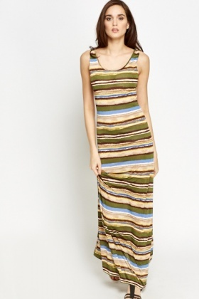 Cut Out Back Striped Maxi Dress