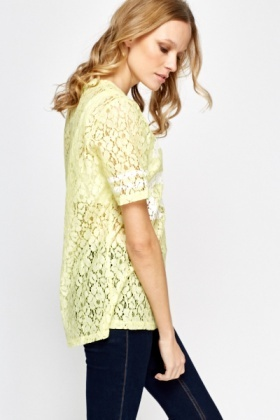 Yellow Lace Printed T-Shirt