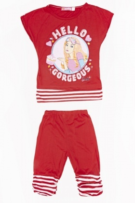 Barbie Contrast Top And Leggings Set