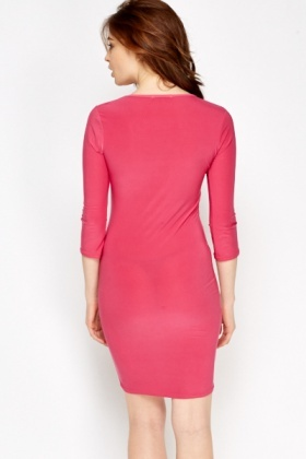 Fuchsia Cut Out Front Dress