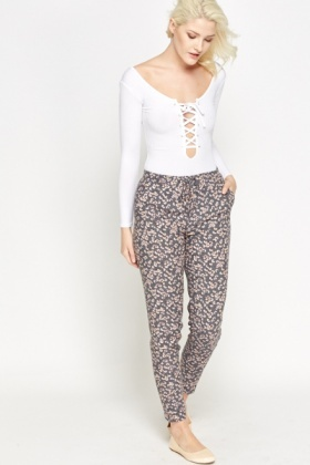 Grey Multi Floral Trousers