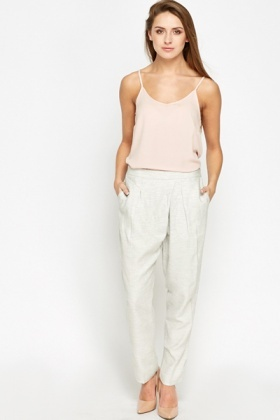 Pleated Light Grey Trousers