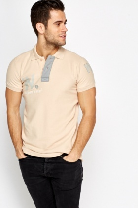 Beige Button Up Polo