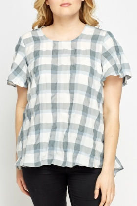 Grey Multi Grid Top