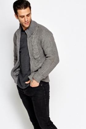 Loose Knit Zip Front Cardigan