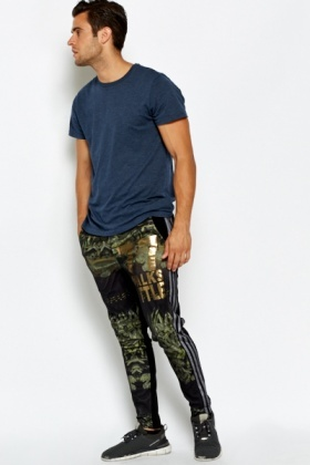 Mesh Overlay Printed Joggers