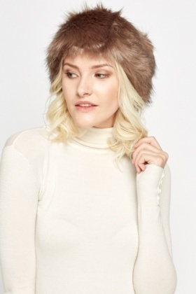 Coffee Faux Fur Headband