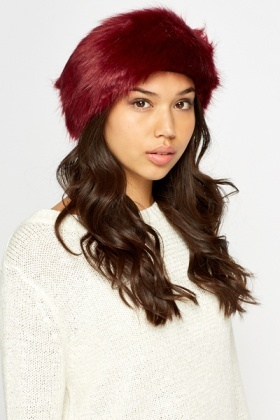 Maroon Faux Fur Headband