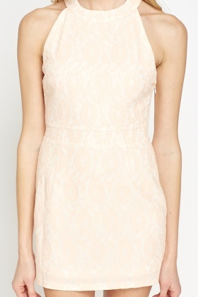Peach Lace Overlay Dress