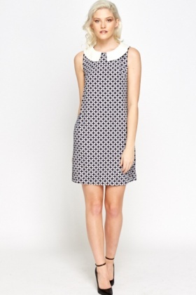 Collared Geo Shift Dress