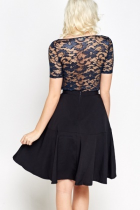 Cropped Navy Lace Top