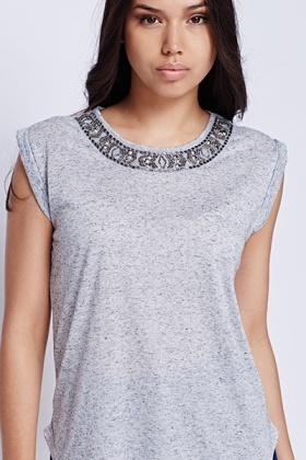 Grey Beaded Neck Top