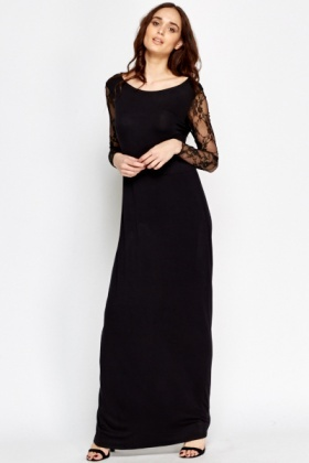 Lace Sleeve Maxi Dress - Just £5