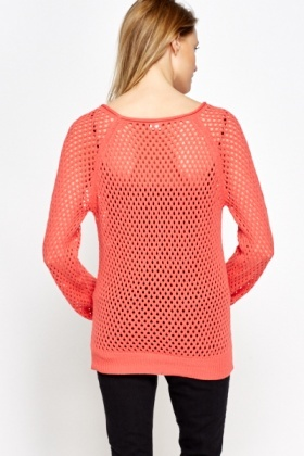Loose Knit Coral Jumper