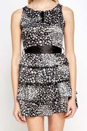 Mono Printed Layered Dress