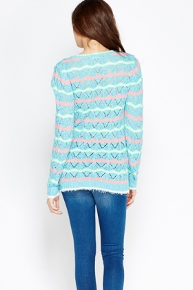 Eyelash Zig Zag Printed Jumper Top