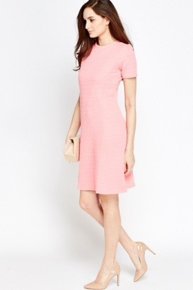 Textured Pink A-Line Flare Hem Dress - Just £5