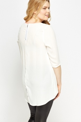 Contrast Trim White Overlay Top
