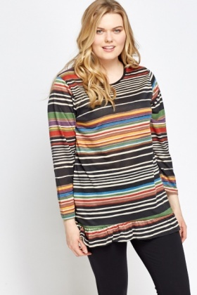 Frill Hem Multi Striped Top