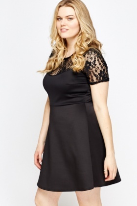 Lace Insert Black Skater Dress