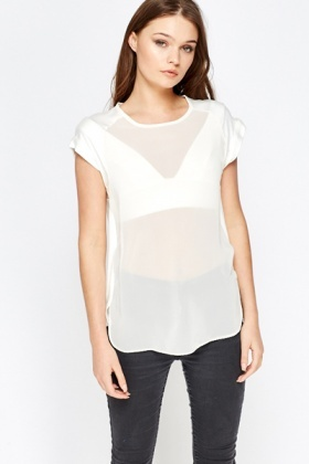Sheer Cream Contrast Top