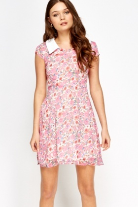 Collared Rose Print Summer Dress