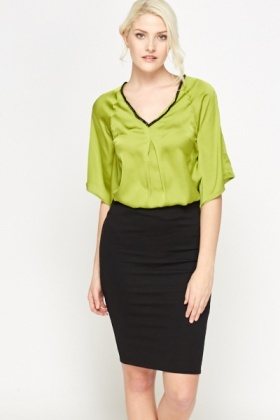 Embellished Neck Lime Top