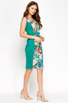 Green Multi Floral Panel Dress