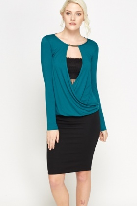 Metallic Neck Wrap Top