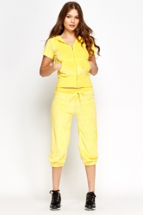 Yellow Velveteen Cropped Tracksuit