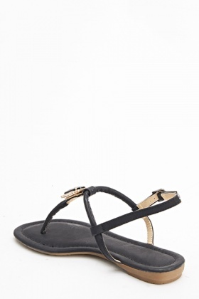 Black Encrusted Front Gem Sandals
