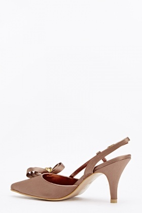 Diamante Front Bow Court Heels