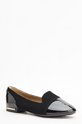 Hi-Shine Contrast Flat Shoes